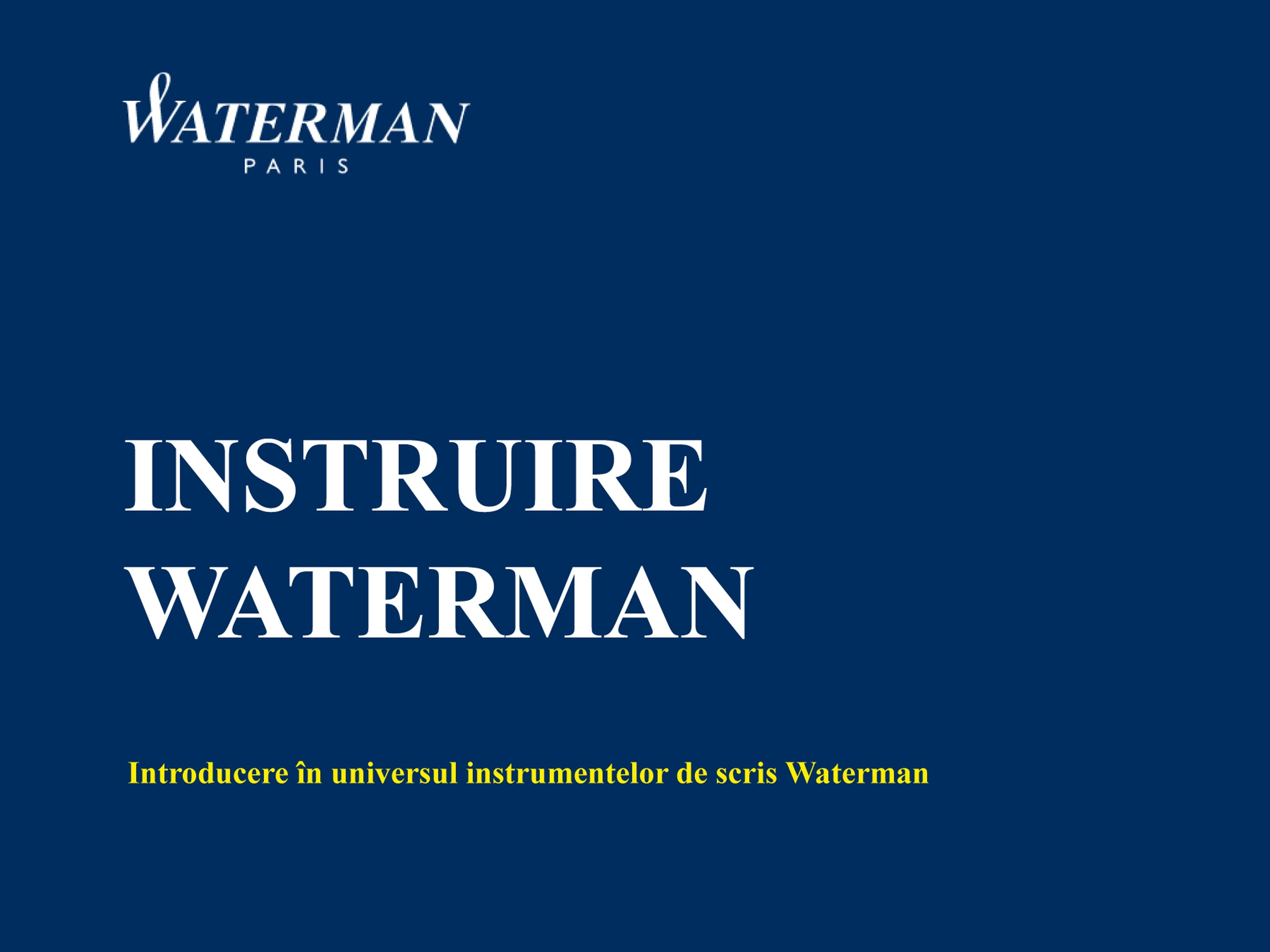 Manual de Instruire Waterman